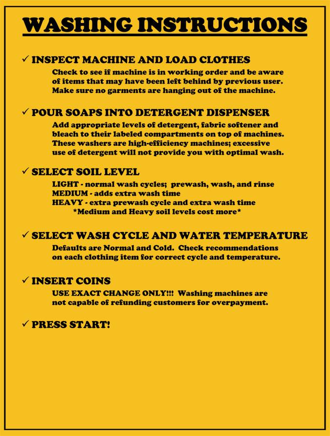 Summerville Laundry Washing Instructions